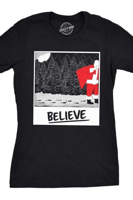 Santa Claus Festive Snow Shirt, Womens Christmas Tree Top, Believe in Father Xmas Tee, Funny Woodland Winter Holiday Shirts