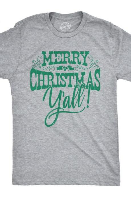Christmas Shirts Men, Merry Christmas Y'all Tee, Festive Man Tops With Quotes On, Holiday Shirts With Sayings Guys